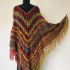 Rainbow Crochet Poncho Fringe, Plus size Festival poncho Pride, Triangle Shawl Wraps, Poncho Women Mom-Birthday-Gift-from-Daughter-For-Her