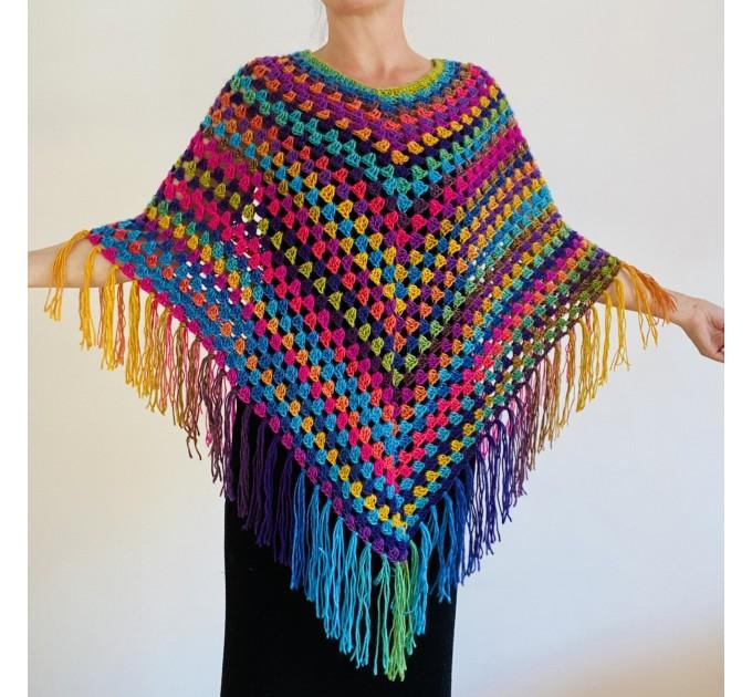 Rainbow Poncho Fringe, Plus size Poncho, hippie poncho festival clothes knit poncho mexico poncho crochet poncho women poncho color block winter cape  Acrylic / Vegan  2