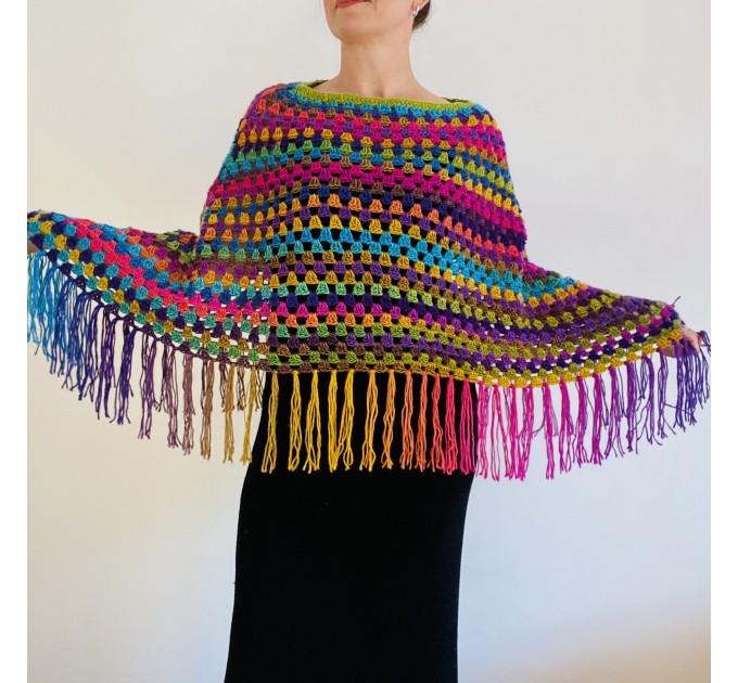 Rainbow Poncho Fringe, Plus size Poncho, hippie poncho festival clothes knit poncho mexico poncho crochet poncho women poncho color block winter cape  Acrylic / Vegan  1