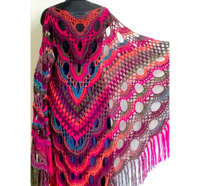 Rainbow Crochet Shawl Fringe Poncho Women Plus Size Hand Knitted Vegan Triangular Multicolor outlander Shawl Wraps Lace Warm Boho Evening  Acrylic / Vegan  2