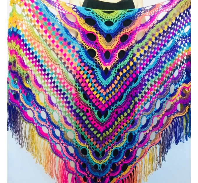 Rainbow Crochet Shawl Fringe Poncho Women Plus Size Hand Knitted Vegan Triangular Multicolor outlander Shawl Wraps Lace Warm Boho Evening  Acrylic / Vegan  1