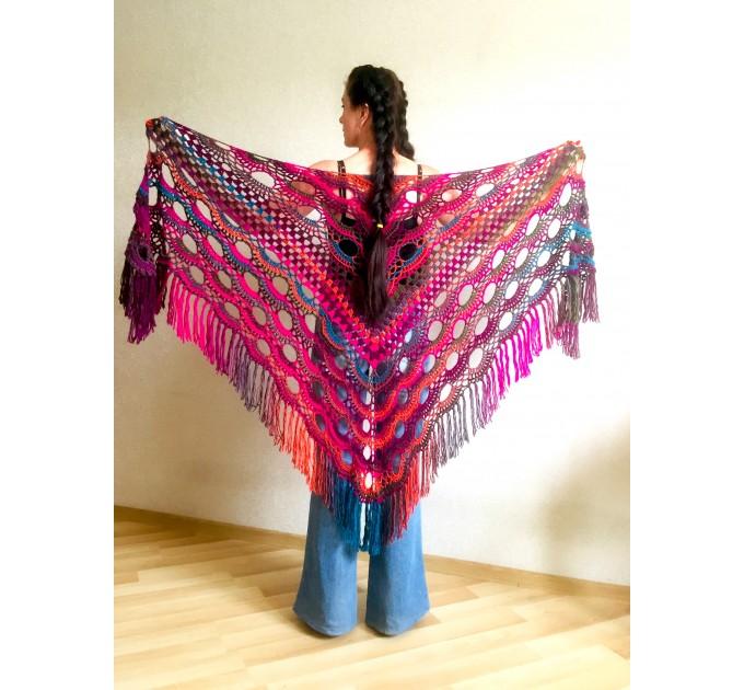 Rainbow Crochet Shawl Fringe Poncho Women Plus Size Hand Knitted Vegan Triangular Multicolor outlander Shawl Wraps Lace Warm Boho Evening  Acrylic / Vegan  3
