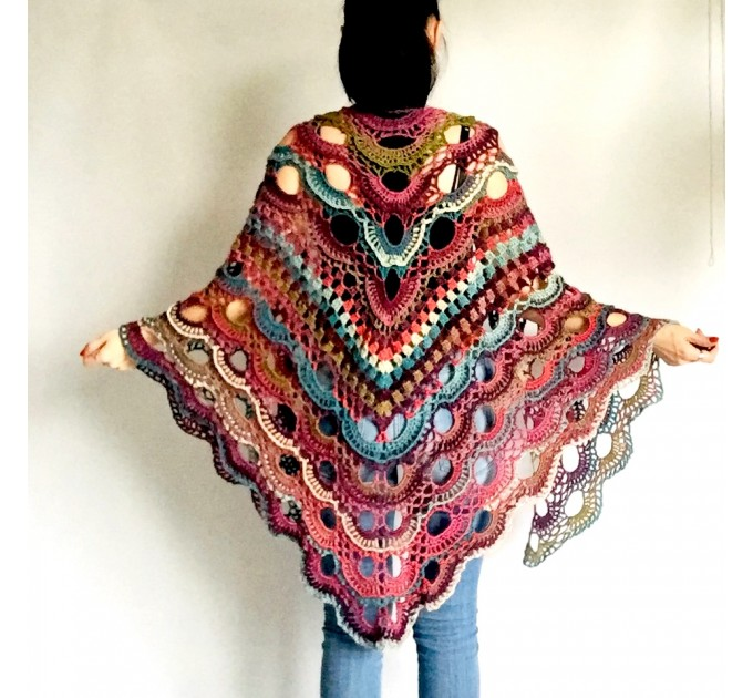 Rainbow Crochet Shawl Fringe Poncho Women Plus Size Hand Knitted Vegan Triangular Multicolor outlander Shawl Wraps Lace Warm Boho Evening  Acrylic / Vegan  5