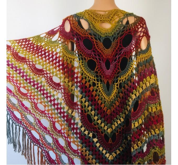 Rainbow Crochet Shawl Fringe Poncho Women Plus Size Hand Knitted Vegan Triangular Multicolor outlander Shawl Wraps Lace Warm Boho Evening  Acrylic / Vegan  7