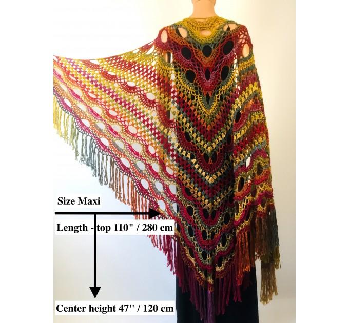 Rainbow Crochet Shawl Fringe Poncho Women Plus Size Hand Knitted Vegan Triangular Multicolor outlander Shawl Wraps Lace Warm Boho Evening  Acrylic / Vegan  11