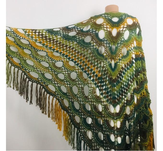 Rainbow Crochet Shawl Fringe Poncho Women Plus Size Hand Knitted Vegan Triangular Multicolor outlander Shawl Wraps Lace Warm Boho Evening  Acrylic / Vegan  9