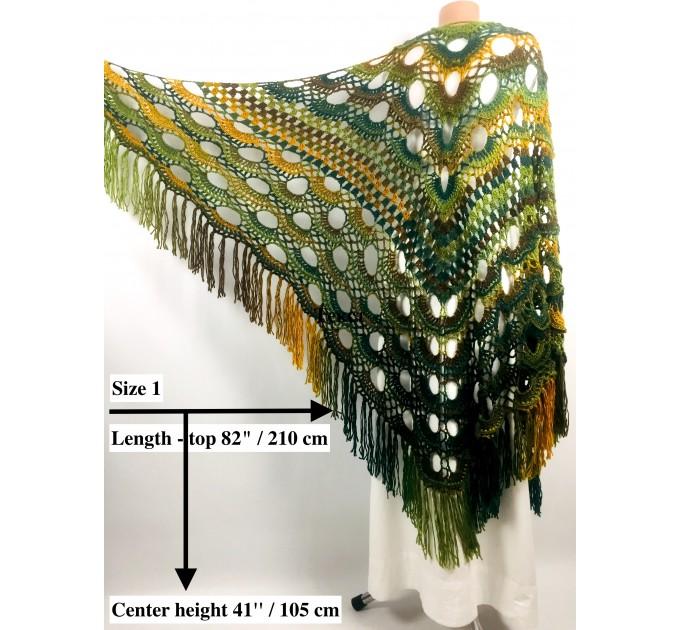Rainbow Crochet Shawl Fringe Poncho Women Plus Size Hand Knitted Vegan Triangular Multicolor outlander Shawl Wraps Lace Warm Boho Evening  Acrylic / Vegan  10