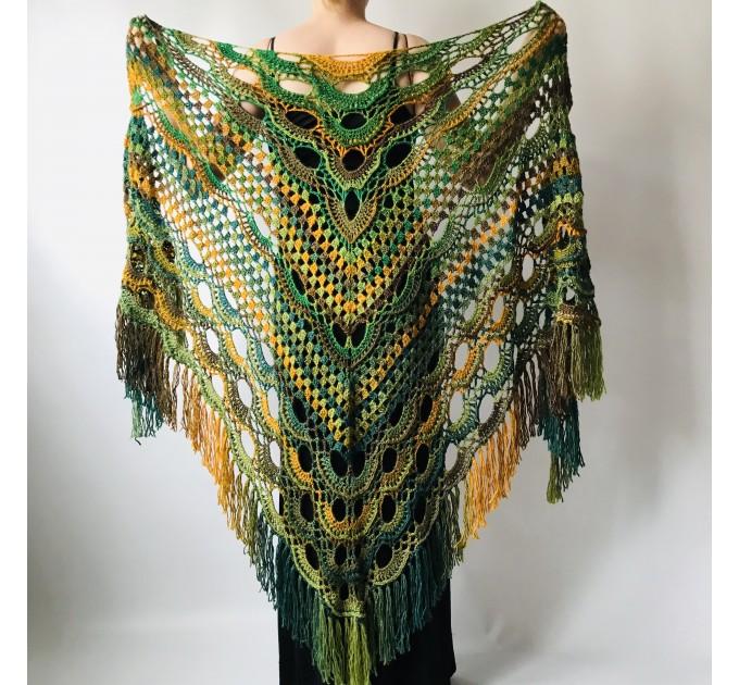 Rainbow Crochet Shawl Fringe Poncho Women Plus Size Hand Knitted Vegan Triangular Multicolor outlander Shawl Wraps Lace Warm Boho Evening  Acrylic / Vegan  8