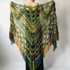 Green Crochet Shawl Wrap Boho Colorful Shawl Rainbow Shawl With Fringe Bohemian Multicolor Shawl Big Crochet Lace Triangle Knitted Shawl