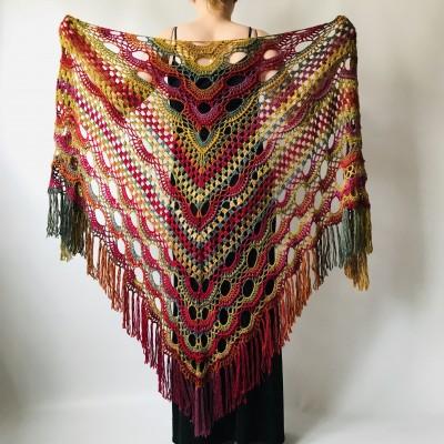 Boho crochet shawl Festival Clothing Woman Poncho, Plus Size Man poncho Triangle scarf Unisex oversize outlander hand knit long fringe shawl