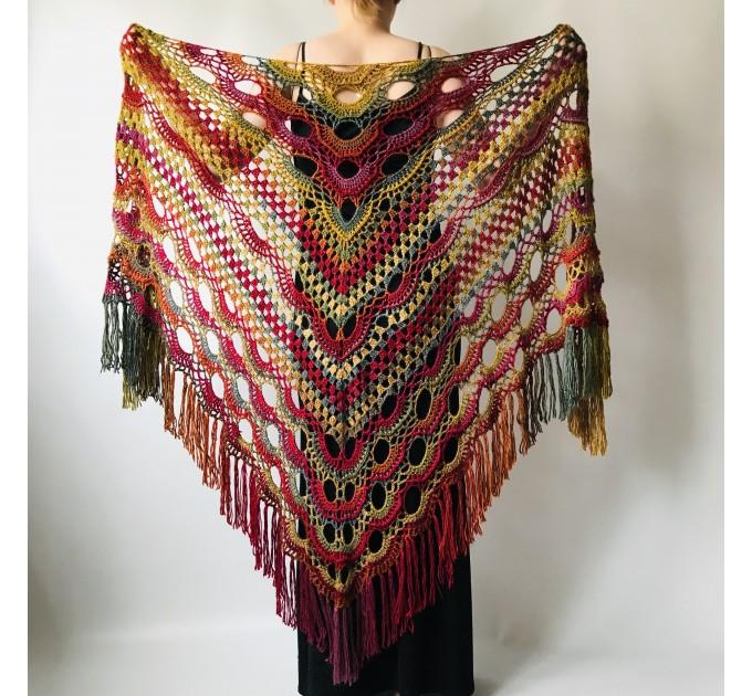 Rainbow Crochet Shawl Fringe Poncho Women Plus Size Hand Knitted Vegan Triangular Multicolor outlander Shawl Wraps Lace Warm Boho Evening  Acrylic / Vegan  6
