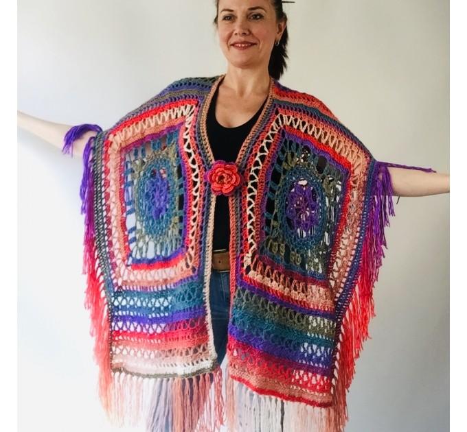 Poncho men women, Prayer shawl Evening cover up, Winter Unisex Vegan poncho Plus size oversize festival clothing, Crochet summer cape Fringe  Acrylic / Vegan