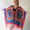 Poncho men women, Prayer shawl Evening cover up, Winter Unisex Vegan poncho Plus size oversize festival clothing, Crochet summer cape Fringe