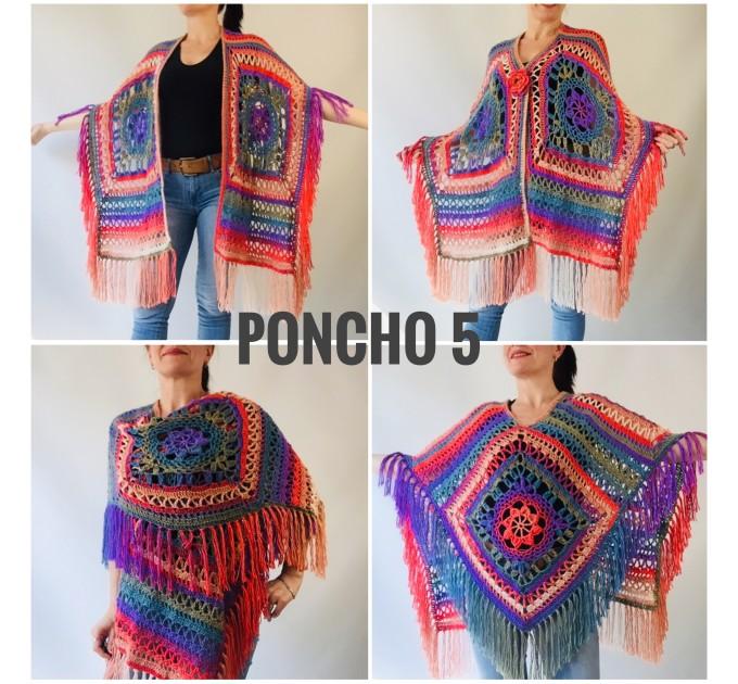 Poncho men women, Prayer shawl Evening cover up, Winter Unisex Vegan poncho Plus size oversize festival clothing, Crochet summer cape Fringe  Acrylic / Vegan  6
