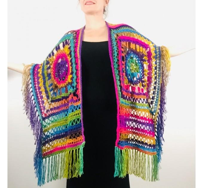 Poncho men women, Prayer shawl Evening cover up, Winter Unisex Vegan poncho Plus size oversize festival clothing, Crochet summer cape Fringe  Acrylic / Vegan  2