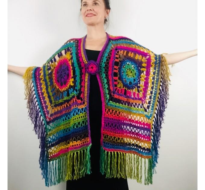 Poncho men women, Prayer shawl Evening cover up, Winter Unisex Vegan poncho Plus size oversize festival clothing, Crochet summer cape Fringe  Acrylic / Vegan  3