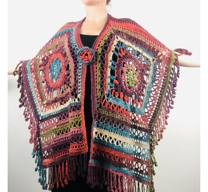 Poncho men women, Prayer shawl Evening cover up, Winter Unisex Vegan poncho Plus size oversize festival clothing, Crochet summer cape Fringe  Acrylic / Vegan  4