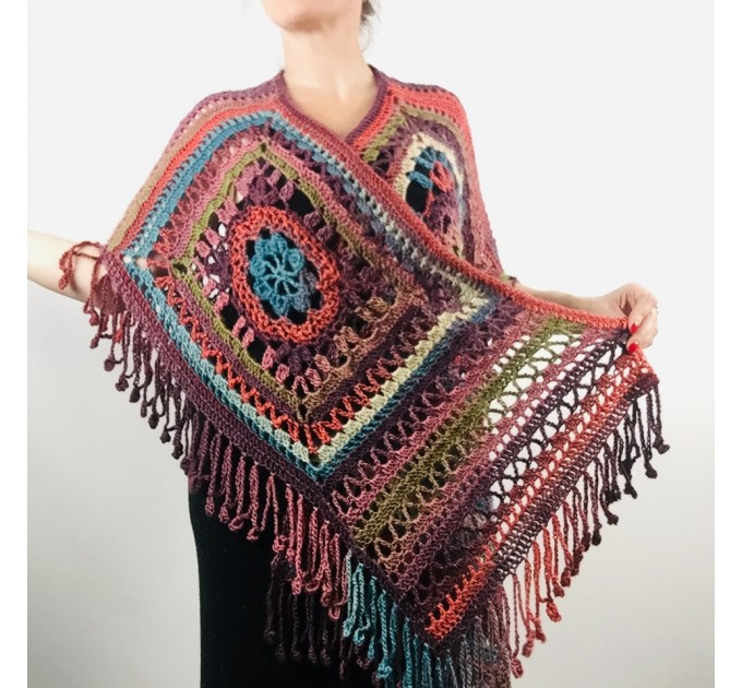 Poncho men women, Prayer shawl Evening cover up, Winter Unisex Vegan poncho Plus size oversize festival clothing, Crochet summer cape Fringe  Acrylic / Vegan  5
