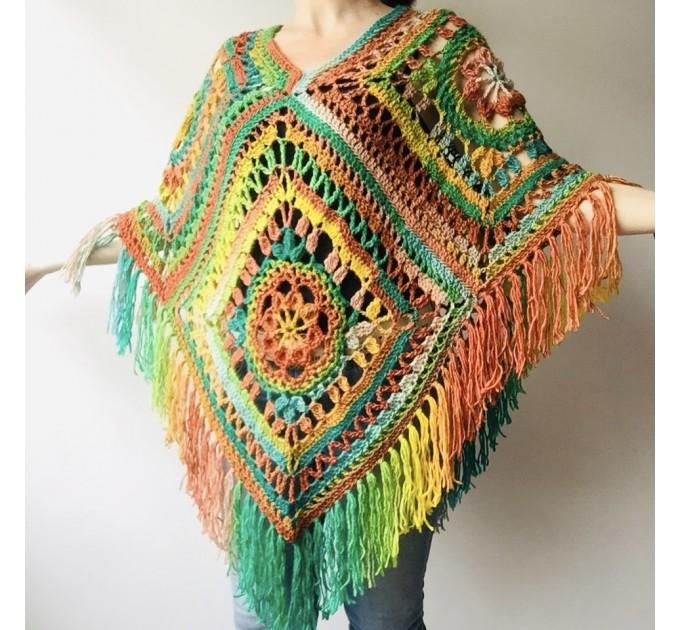 Green wool poncho women Festival Loose knit oversized poncho, Crochet lace hippie plus size poncho cape Evening shawl wraps  Wool  1