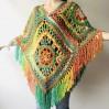 Crochet poncho women, Rainbow granny square sweater, Plus size hippie gypsy boho festival clothing, Hand knit shawl wraps fringe