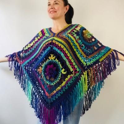 Blue poncho women fringe, Plus size hippie wrap halloween shawl, Crochet oversized wool cape, Unisex Burnt Orange Brown Green