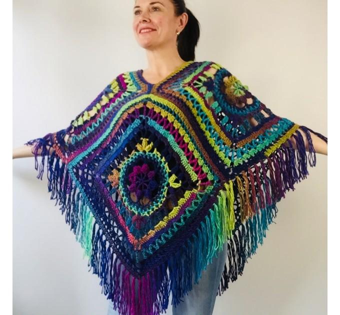 Green wool poncho women Festival Loose knit oversized poncho, Crochet lace hippie plus size poncho cape Evening shawl wraps  Wool  2
