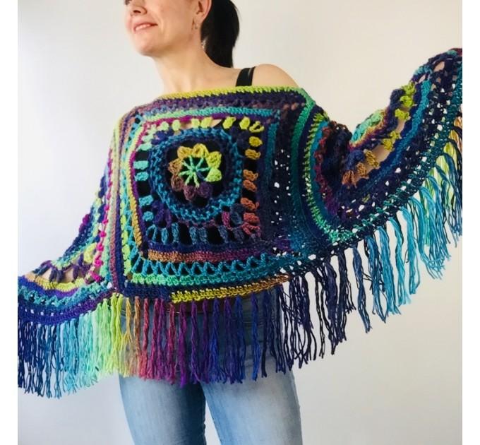 Green wool poncho women Festival Loose knit oversized poncho, Crochet lace hippie plus size poncho cape Evening shawl wraps  Wool  3