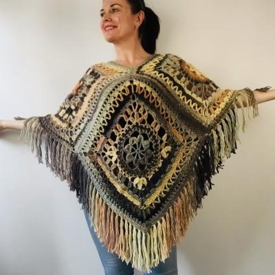 Brown poncho cape coat tribal cardigan boho shawl wool cape poncho knit poncho green fringe cape top mexico poncho unisex poncho wrap