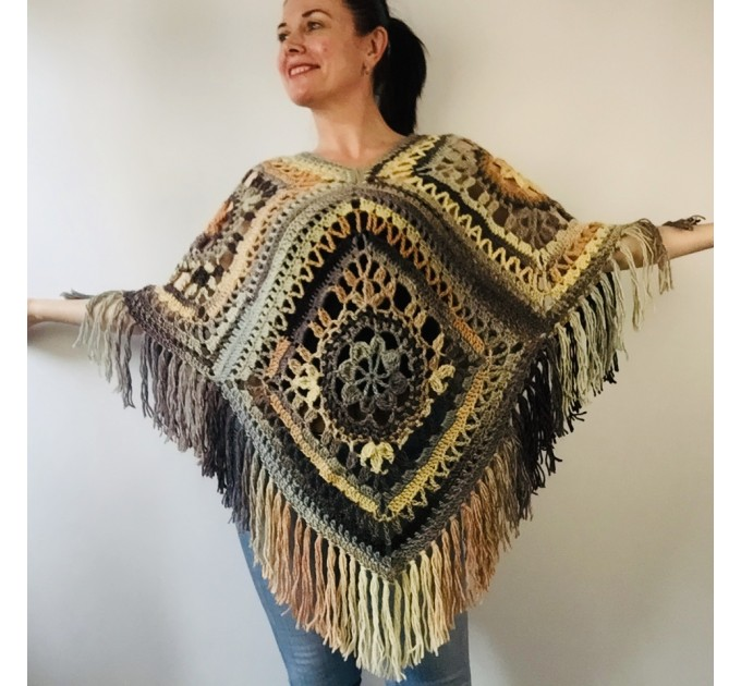 Green wool poncho women Festival Loose knit oversized poncho, Crochet lace hippie plus size poncho cape Evening shawl wraps  Wool  4