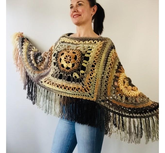 Green wool poncho women Festival Loose knit oversized poncho, Crochet lace hippie plus size poncho cape Evening shawl wraps  Wool  5