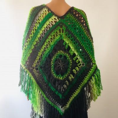 Green wool poncho women Festival Loose knit oversized poncho, Crochet lace hippie plus size poncho cape Evening shawl wraps
