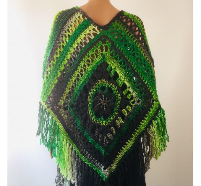 Green wool poncho women Festival Loose knit oversized poncho, Crochet lace hippie plus size poncho cape Evening shawl wraps  Wool