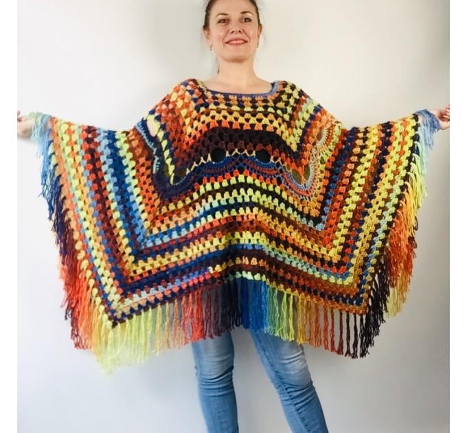 Brown poncho hoodie ombre wool cape poncho fringe alternative clothing boho shawl knit poncho black halloween poncho wrap mexico poncho  Wool  2