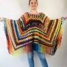 Blue wool Poncho Women, Gray Hippie Plus size Shawl, Loose knit fringe vest, Hand knit triangle lace scarf Evening Wraps Beige Black