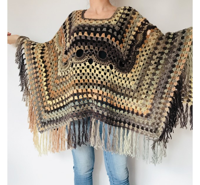 Brown poncho hoodie ombre wool cape poncho fringe alternative clothing boho shawl knit poncho black halloween poncho wrap mexico poncho  Wool