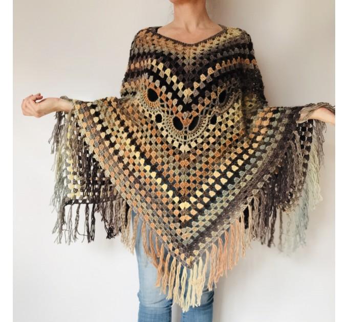 Brown poncho hoodie ombre wool cape poncho fringe alternative clothing boho shawl knit poncho black halloween poncho wrap mexico poncho  Wool  1