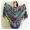 Blue Triangle Shawl Fringe Wool shawl and Wraps Multicolor crochet shawl Festival shawl knit wrap shoulder wrap winter