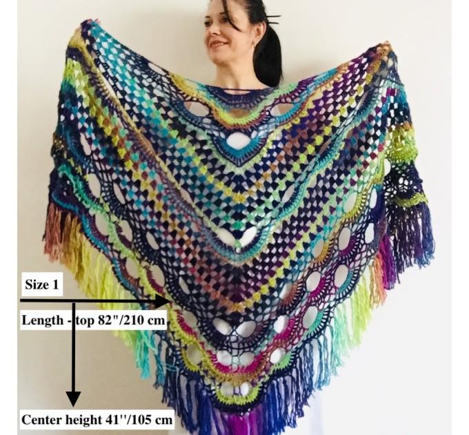 Maroon shawl plus size green and burgundy shawl off shoulder tribal shawl triangle shawl ombre crochet shawl fringe gradient shawl mexico  Wool  1