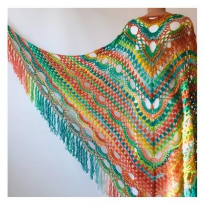 Green Shawl Fringe, Burnt orange Hand Knit lace triangle plus size Wool Wraps, Crochet Evening Hippie festival Scarf Multicolor