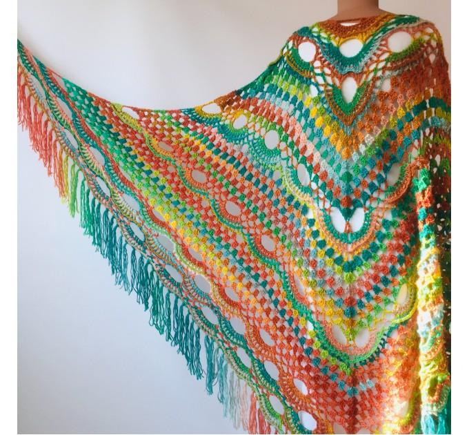 Green Shawl Fringe, Burnt orange Hand Knit lace triangle plus size Wool Wraps, Crochet Evening Hippie festival Scarf Multicolor  Wool