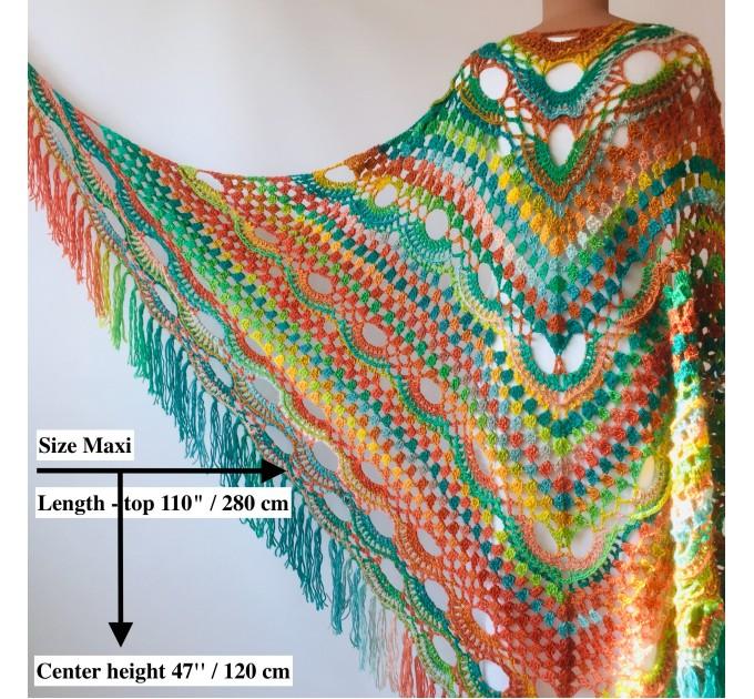 Maroon shawl plus size green and burgundy shawl off shoulder tribal shawl triangle shawl ombre crochet shawl fringe gradient shawl mexico  Wool  2