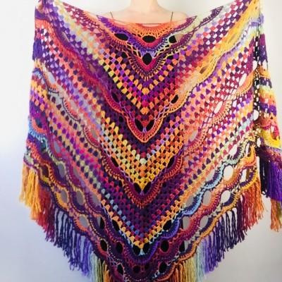 Violet Crochet Shawl Wrap Fringe Burnt Orange Triangle Boho Shawl Colorful Rainbow Shawl Big Multicolor Hand Knitted Shawl Evening Shawl