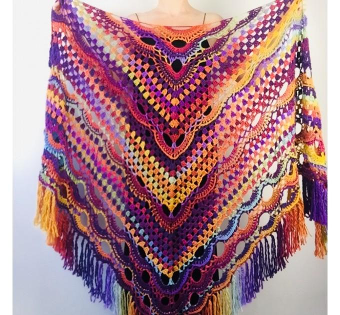 Maroon shawl plus size green and burgundy shawl off shoulder tribal shawl triangle shawl ombre crochet shawl fringe gradient shawl mexico  Wool  4