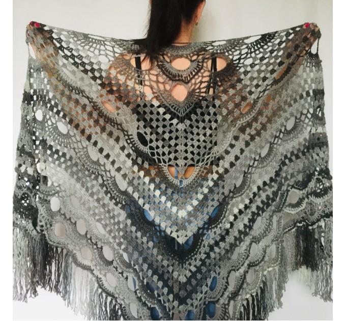 Maroon shawl plus size green and burgundy shawl off shoulder tribal shawl triangle shawl ombre crochet shawl fringe gradient shawl mexico  Wool  3