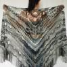 Obsidian black halloween shawl ombre crochet cover up fairycore triangle shawl fringe gray alternative shawl wool witchy shawl festival