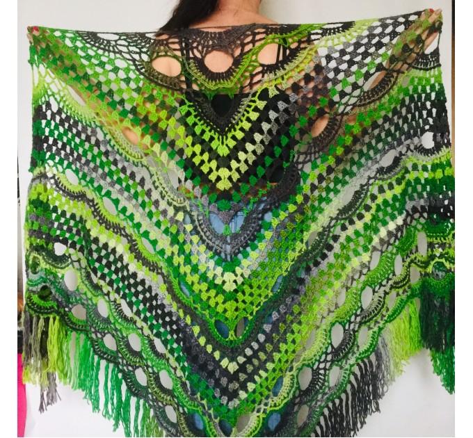 Maroon shawl plus size green and burgundy shawl off shoulder tribal shawl triangle shawl ombre crochet shawl fringe gradient shawl mexico  Wool  5