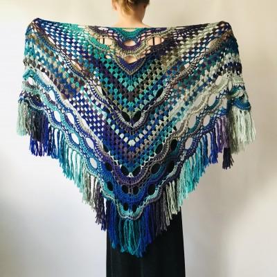 Blue Crochet Triangle Shawl Fringe Gray crochet shawl Wool shawl Green Festival shawl and wraps knit crochet wrap shawl for wedding