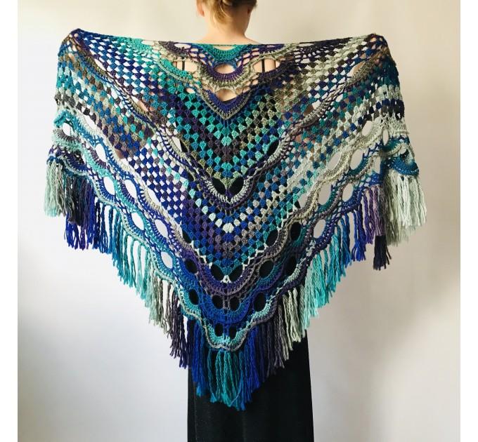 Maroon shawl plus size green and burgundy shawl off shoulder tribal shawl triangle shawl ombre crochet shawl fringe gradient shawl mexico  Wool  6