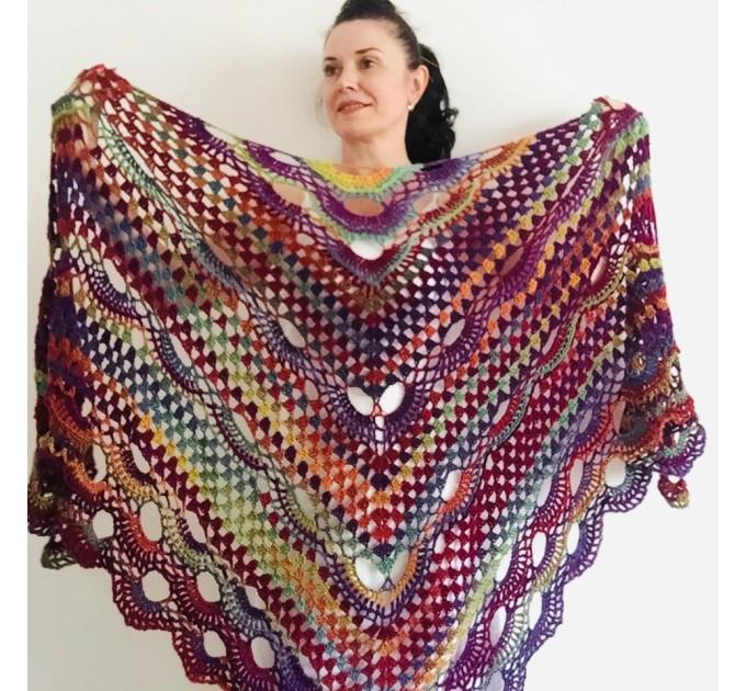 Maroon shawl plus size green and burgundy shawl off shoulder tribal shawl triangle shawl ombre crochet shawl fringe gradient shawl mexico  Wool
