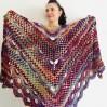 Maroon shawl plus size green and burgundy shawl off shoulder tribal shawl triangle shawl ombre crochet shawl fringe gradient shawl mexico